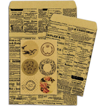 Bo Bunny Kraft Gift Bags Newsprint