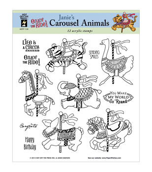 Hot Off The Press Carousel Animals Acrylic Stamp