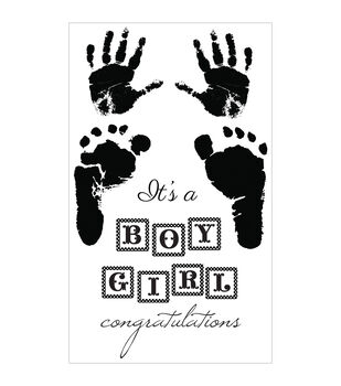 "Pitter Patter Clear Stamps 6.25""X4""-Boy & Girl"