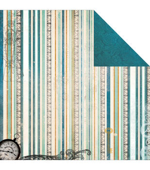 """Somewhere In Time Double-Sided Cardstock 12""""X12""""-Evening Mist"""