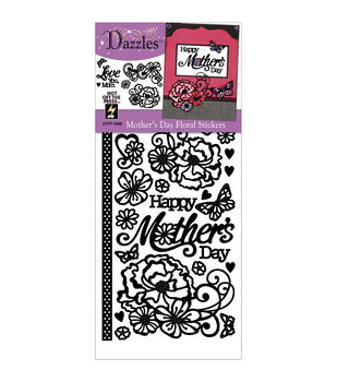 Dazzles Stickers-Black Mother's Day Floral