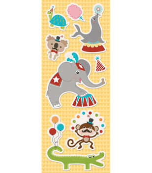 Imaginisce Animal Crackers Canvas Stickers-Animal Parade