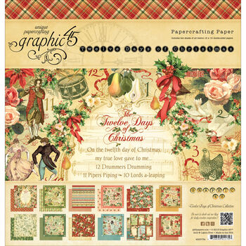 Graphic 45 12 Days Of Christmas Double-Sided Paper Pad 12''x12''