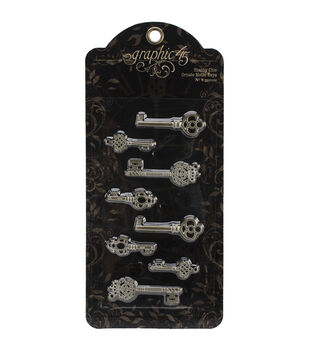 Staples Ornate Metal Keys 8/Pkg-Shabby Chic 4 Styles/2 Each
