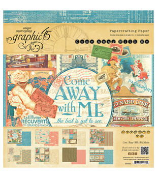 "Graphic 45 Paper Pad 12""X12"" 24/Pkg-Come Away With Me"
