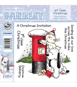 Crafter's Companion Christmas With Barkley Stamp Set 1st Class Christmas