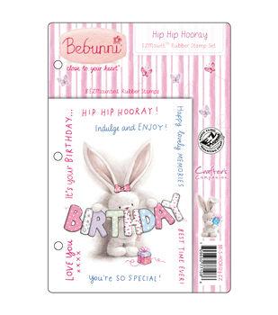 Crafter's Companion Bebunni EZMount Cling Stamp Set Hip Hip Hooray