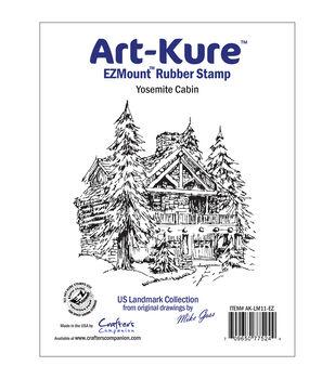 """Art-Kure Landmarks EZMount Stamp 3.75""""X3.75""""-Yosemite Cabin"""