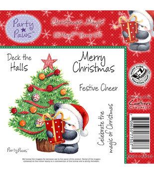 """Party Paws EZMount Stamp Set 5.5""""x8.5""""-Christmas Magic"""
