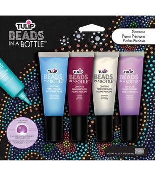 Tulip Beads In A Bottle Paint-LtBlu/Brgndy/Clear/Purple .9 oz 4/Pkg
