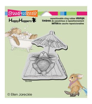 "Stampendous HappyHopper Cling Rubber Stamp 4""X3.5"" Sheet-Umbrella Nap"