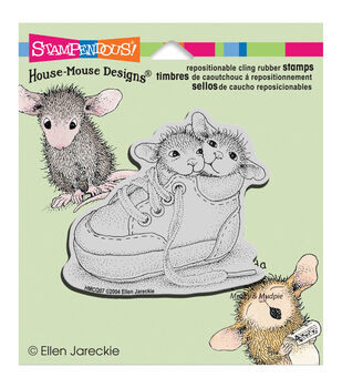 """Stampendous House Mouse Cling Rubber Stamp 3.5""""X4"""" Sheet -Shoe Babies"""