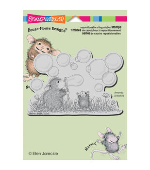 """Stampendous House Mouse Cling Rubber Stamp 5.5""""X4.5"""" Sheet-Blowing Bubbles"""