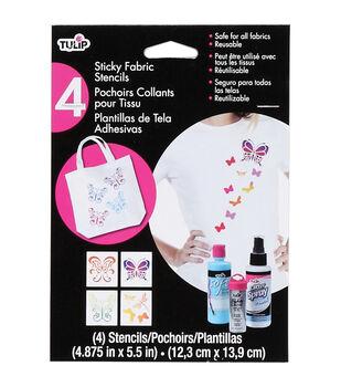 "Tulip Small Sticky Fabric Stencils 4""X4"" 4/Pkg-Butterflies"