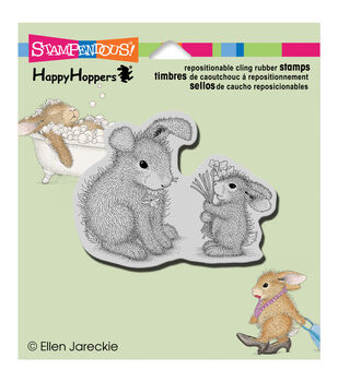 """Stampendous HappyHopper Cling Rubber Stamp 3.5""""X4"""" Sheet-Forget Me Nots"""