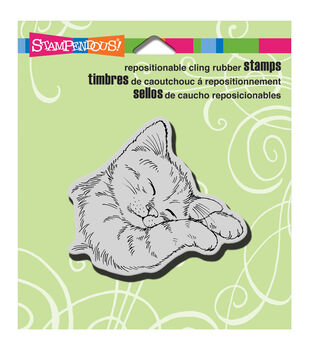 """Stampendous Cling Rubber Stamp 3.5""""X4"""" Sheet-Feline Sleepy"""