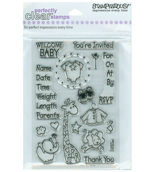 Stampendous Perfectly Clear Stamps-Baby Invite