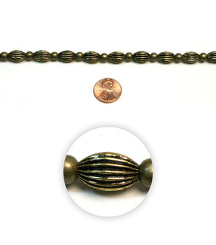 Courrugated Elliptic Metal Beads
