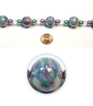 Round Iridescent Swirl Ceramic Beads