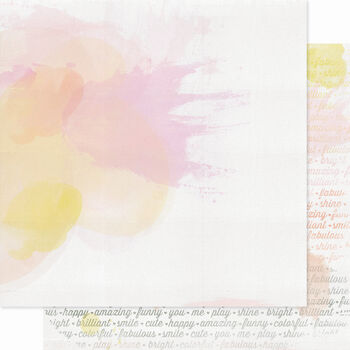 Pink Paislee Color Wash Shine Double-Sided Cardstock 12''x12''