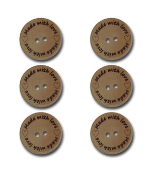Wooden Buttons 6/Pkg-Made With Love .9""