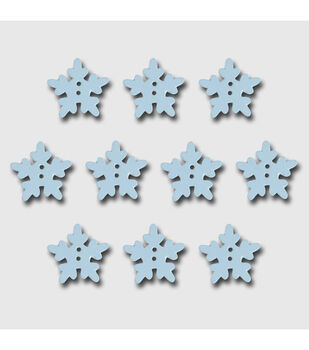 Wooden Buttons 10/Pkg-White Snowflakes .75""
