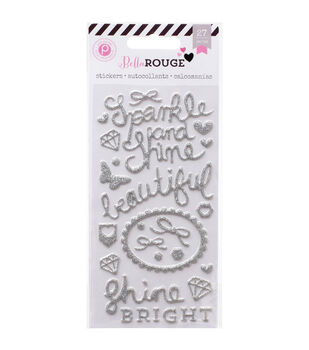 Bella Rouge Puffy Glitter Stickers-Silver Words & Shapes