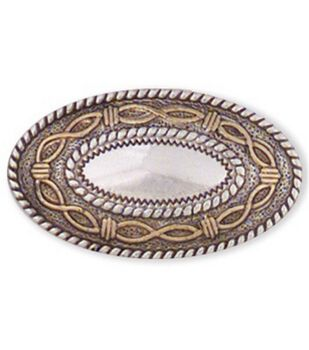 Leather Factory 1-1/2''x3/4'' Angel Fire Oval Concho-1PK/Silver