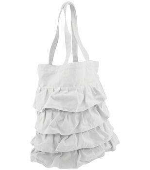 """Totally You! Ruffled Tote Bag 14""""X15.5""""-White"""