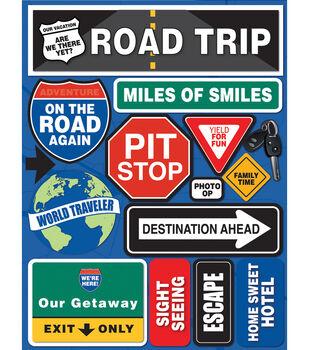 "Signature Dimensional Stickers 4.5""X6"" Sheet-Road Trip"