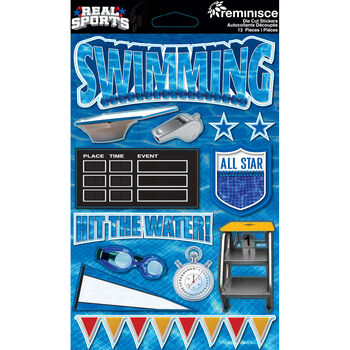 Reminisce Real Sports Dimensional Stickers Swimming