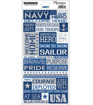 Reminisce Signature Series Military Quote Stickers-Navy