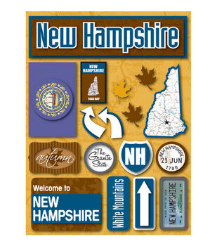 Reminisce Dimensional Stickers-New Hampshire