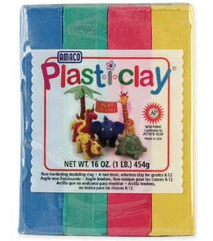 Amaco Plasti-Clay 1 Pound-Red/Blue/Yellow/Green