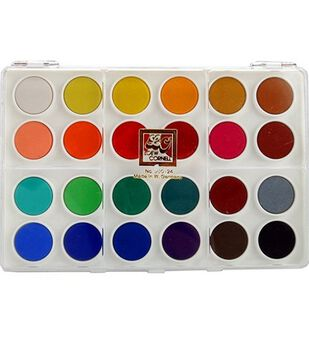 Loew-Cornell Dry Pan Watercolor Paint Cakes 24 Colors