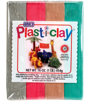 Amaco Plasti-Clay 1 Pound-Red/Grey/Green/Brown