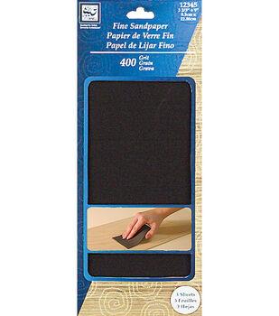 """Fine Sandpaper 3-2/3""""X9"""" 3/Pkg-400 Grit"""