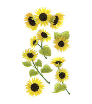 Jolee's Boutique Le Grande Dimensional Sticker-Sunny Sunflowers