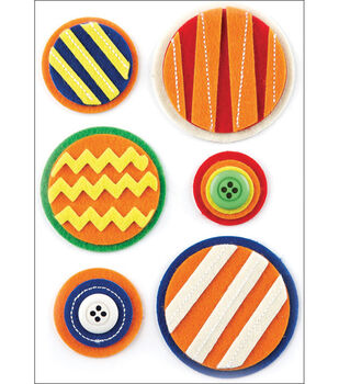 Basic Grey Life Of The Party Woolies Layered Felt Stickers-With Button & Stitched Accents