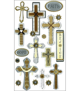 Jolee's Boutique Le Grande Dimensional Stickers-Faith Hope And Rejoice