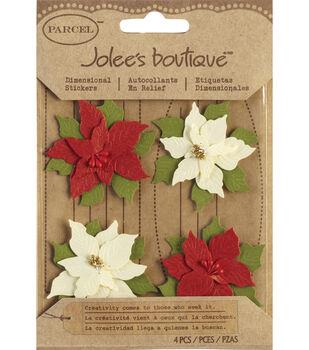 Jolee's Boutique Christmas Stickers-Poinsettias