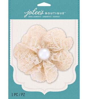 Jolee's Boutique - Cream Lace Gem Large Flower