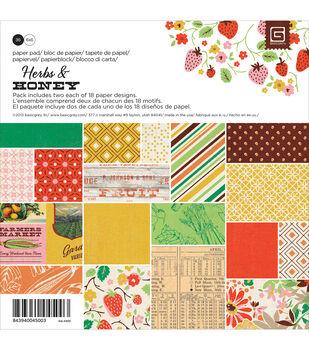 "Basic Grey Paper Pad 6""X6"" 36/Pkg-Herbs & Honey"