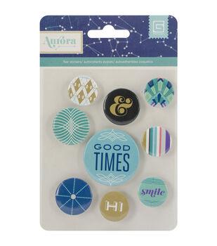 Aurora Metal Button Flair Stickers 9/Pkg-