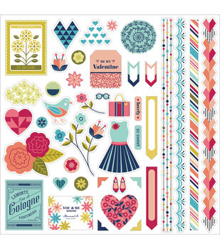 "J'Adore Cardstock Stickers 12""X12""-Element"