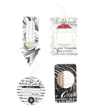 Basics Self-Adhesive Canvas Tags 4Pk-White