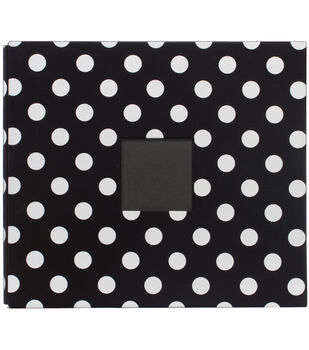 "American Crafts Patterned  Album 12""X12""-Black  White Polka Dots"