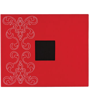 "American Crafts Patterned 3-Ring Album 12""X12""-Crimson With Flourish"