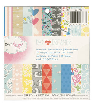 "Dear Lizzy Daydreamer paper Pad 6""x6"" 36/Sheets -Single-Sided"