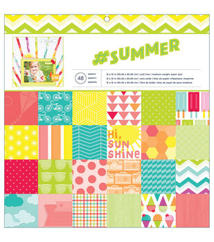 "#Summer paper Pad 12""x12"" 48/Sheets-Single-Sided"